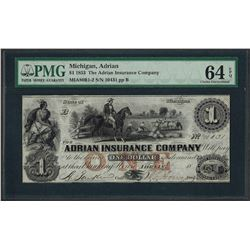 1853 $1 The Adrian Insurance Company Obsolete Note PMG Choice Uncirculated 64EPQ