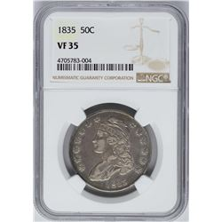 1835 Capped Bust Half Dollar Coin NGC VF35