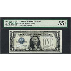 1928A $1 Funnyback Silver Certificate STAR Note Fr.1601* PMG About Uncirculated
