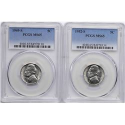 Lot of 1949-S & 1952-S Jefferson Nickel Coins PCGS MS65