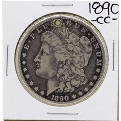 1890-CC $1 Morgan Silver Dollar Coin Holed