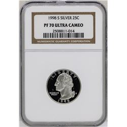 1998-S Washington Silver Proof Quarter Coin NGC PF70 Ultra Cameo