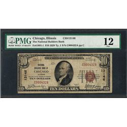 1929 $10 National Currency Note Chicago, Illinois CH# 13146 PMG Fine 12