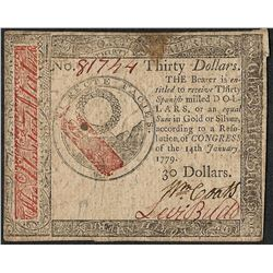 January 14, 1779 $30 Continental Currency Note