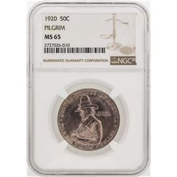 1920 Pilgrim Commemorative Half Dollar Silver Coin NGC MS65