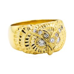 18KT Yellow Gold 0.25 ctw Diamond Owl Motif Ring