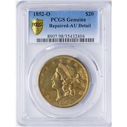 1852-O $20 Liberty Head Double Eagle Gold Coin PCGS AU Details