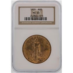 1922 $20 St. Gaudens Double Eagle Gold Coin NGC MS63