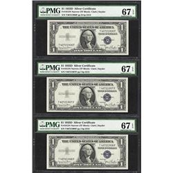 Lot of (3) Consecutive 1935D $1 Silver Certificate Notes PMG Superb Gem Unc 67EP
