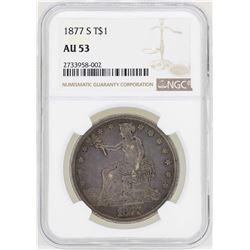 1877-S $1 Trade Silver Dollar Coin NGC AU53