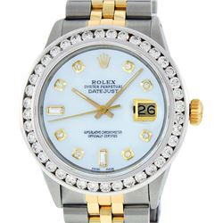 Rolex Mens Two Tone MOP 3 ctw Channel Set Diamond Datejust Watch