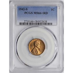 1942-S Lincoln Wheat Cent Coin PCGS MS66+RD