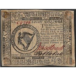 February 17, 1776 $8 Continental Currency Note
