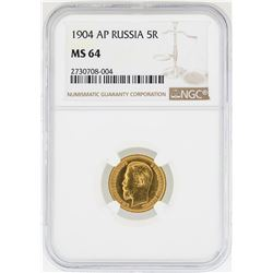 1904-AP Russia 5 Roubles Gold Coin NGC MS64