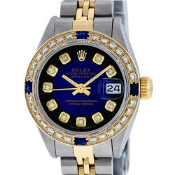 Rolex Ladies Two Tone Blue Vignette Diamond & Sapphire Datejust Wristwatch