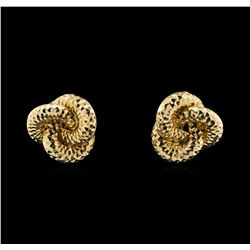 14KT Yellow Gold Diamond Cut Interlocking Circle Earrings