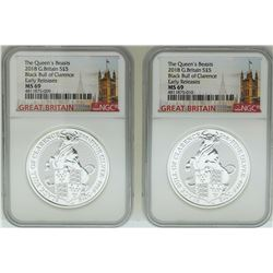 Lot of (2) 2018 Great Britain 5 Pound Queen's Beasts Silver Coins NGC MS69 Early