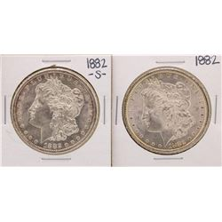 Lot of 1882-S & 1882 $1 Morgan Silver Dollar Coins