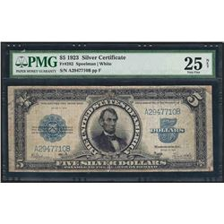 1923 $5 Porthole Silver Certificate Note Fr.282 PMG Very Fine 25 Net