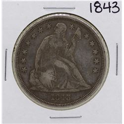 1843 $1 Seated Liberty Silver Dollar Coin