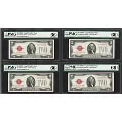 Lot of (4) Consecutive 1928G $2 Legal Tender Notes Fr.1508 PMG Gem Uncirculated
