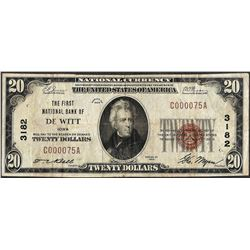 1929 $20 National Currency Note First NB of De Witt, Iowa CH# 3182 Low Serial