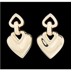 14KT Yellow Gold Heart Shape Dangle Earrings