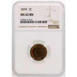 1874 Indian Head Cent Coin NGC MS62 BN