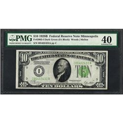1928B $10 Federal Reserve Note Minneapolis Fr.2002-I PMG Extremely Fine 40
