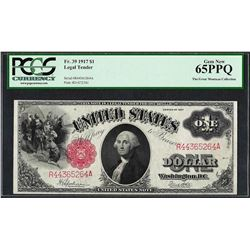 1917 $1 Legal Tender Note Fr.37 PCGS Gem New 65PPQ