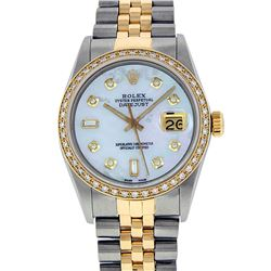 Rolex Men's Two Tone 14K Mother Of Pearl Baguette Diamond Datejust Wristwatch
