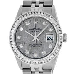 Rolex Men's Stainless Steel Meteorite Diamond Princess Cut 36MM Datejust Wristwa