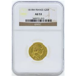 1818W France 20 Francs Gold Coin NGC AU53