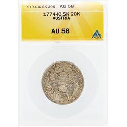 1774-IC SK 20 Kreuzer Austria Coin ANACS AU58