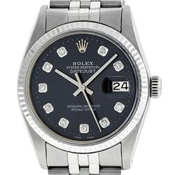 Rolex Men's Stainless Steel Black Diamond 36MM Datejust Wristwatch