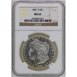 1881-S $1 Morgan Silver Dollar Coin NGC MS63 AMAZING TONING