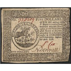 September 26, 1778 $5 Continental Currency Note