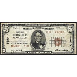 1929 $5 National Currency Note Bishop NB of Honolulu, HI CH# 5550