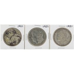 Lot of (3) 1921 $1 Morgan Silver Dollar Coins