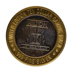 .999 Silver Hilton Las Vegas, Nevada $10 Casino Limited Edition Gaming Token