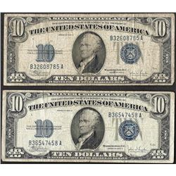 Lot of (2) 1934C $10 Silver Certificate Notes