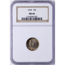 1934 Mercury Dime Coin NGC MS66