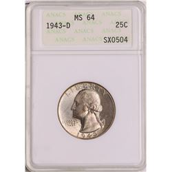 1943-D Washington Quarter Coin ANACS MS64