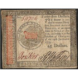 January 14, 1779 $45 Continental Currency Note