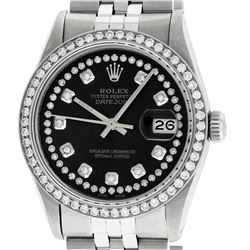 Rolex Men's Stainless Steel Black String Diamond 36MM Datejust Wristwatch