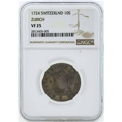 1724 Switzerland 10 Schweiz Coin NGC VF25