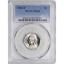 1949-D Jefferson Nickel Coin PCGS MS66