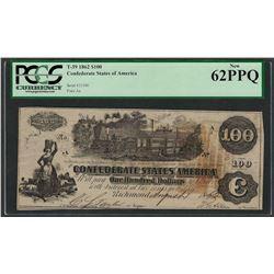 1862 $100 Confederate States of America Note T-39 PCGS New 62PPQ
