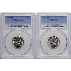 Lot of 1940-D & 1941-D Jefferson Nickel Coins PCGS MS66