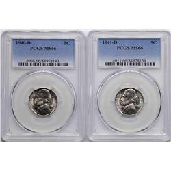 Lot of 1940-D & 1941-D Jefferson Nickel Coins PCGS MS66
